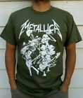 METALLICA SKELETONES ROCK BAND MEN'S MILITARY GREEN T-SHIRT SIZES image
