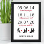 Personalised Memorable Dates 1st Anniversary Gifts for Her Him Husband Wife