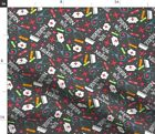 Charcoal Gray Red White Love A Nurse Words Fabric Printed by Spoonflower BTY