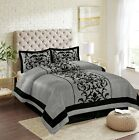 New Empire Home Grey Donna Damask 4-Piece Comforter Set Bed In A Bag Sale! image