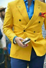 Mens Yellow Suit Double Breasted Blazer Groom Tuxedo Party Dinner Formal Suit