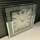Crushed Jewel crystal Wall Clock Roman Number GLASS Diamante Mirror round square