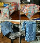 Indian Patchwork Baby Quilts Throw Blanket Blue Super Soft Warm Sofa and Couch
