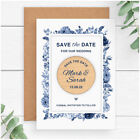 PERSONALISED Navy Blue Floral Wedding Save The Date Fridge Magnets Spring Summer
