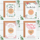PERSONALISED Pink Wedding Save The Date Cards Rustic Wood Fridge Magnets Boho