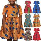 Kids Girls Swing Skater Mini Dress African Printed Summer Holiday Casual Dresses