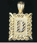 Brand New10K Solid Yellow Gold Diamond Cut Initial Letter A to Z Rectangle Charm image