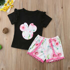 NEW Minnie Mouse Girls Black Shirt Pink Floral Shorts Outfit Set 2T 3T 4T 5T 6