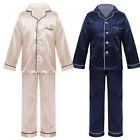 Kids Boys Girls Unisex Silk Pajamas Outfit Button-Down Long Sleeve Tops Pants