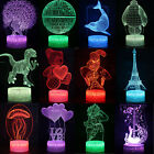 3D Animals LED  illusion Visual Night Light - Changing Colour Touch Lamp Decor