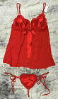 Sale Ex Ann Summers Red Satin Chiffon Queen Of Hearts Baby Dolls Set