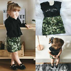 US Girl Clothes Set Top T-shirt Toddler Kids Camouflage Skirt Casual Baby Outfit