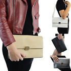 Womens Envelope Clutch Bag Synthetic Leather Ladies Evening Shoulder Handbag UK