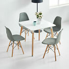 80cm Eiffel Retro Style Square Dining Table And Chairs Set 1 2 Or 4 Wooden Legs