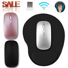 Mouse Pad + 2.4GHz USB Wireless Mouse Rechargeable Optical for Laptop PC Macbook