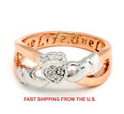 Two Tone Engraved One Life One Love Claddagh Ring