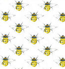 Cotton Poplin Bumble Bees Fabric Material - 0395