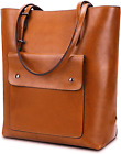 YALUXE Womens Front Pocket Vintage Style Soft Leather Work Tote Large Shoulder