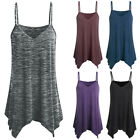 Womens Spaghetti Strap Tank Top Camisole Flowy Summer Vest Blouse Tops Plus Size