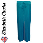 LADIES WIDE LEG CRINKLE PLEATED TROUSERS, SATIN, HAREM, BAGGY, PALAZZO, CULOTTE