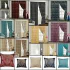 Pair Of Jacquard Pencil Pleat Curtains Tape Top Fully  Lined Or Cushion Covers
