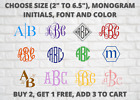 """Monogram Initials Vinyl Decal /choose From 2"""" To 6.5"""" / 25 Different Fonts"""