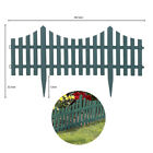 4pc Grey Wooden Garden Fencing Effect Picket Edge Set Lawn Border Plastic Edging