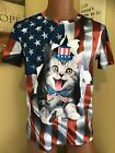 T-shirt For Men's 4th July patriotic American Flag with cat with hat 3D. NEW👍 image
