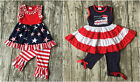 NEW Boutique Patriotic Ruffle Tunic Dress Leggings Girls Outfit Set 4th of July