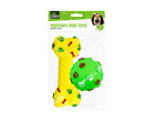 Christmas Xmas Present Gift Squeaky Dog & Puppy Toys - Bone and Ball Toy 2 Pack