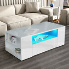 LED Coffee Table Wooden Drawer Storage High Gloss Modern Living Room Furniture