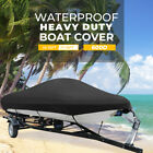14-16ft / 17-19ft Waterproof Trailerable Boat Cover V-hull Fish Ski Bass 600D image