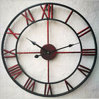 Home Retro Wall Clock Roman Numeral 3D Vintage Metal Hollow Iron Mute Watch