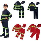 Boys Girls Firefighter Outfit Kid Long Sleeves Zipper Closure Uniforms Costumes
