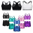 Toddlers Girls Tankini Bra Outfit Shiny Sequins Tank Tops Bottoms Set Dancewear