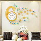 Wide Large Iridescent Peacock Wall Clock Home Decor Colorful Gems Train Retro