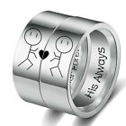 Stainless Steel His Always Her Forever Stick Figure Couple Ring Wedding Gift