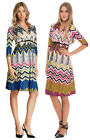 OLIAN Maternity Women's Jeanette Zig Zag Print Neck Tie Dress 148 NWT
