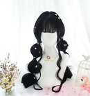 Black Gradient Lolita Daily Curly Wig Cosplay Hairpiece Sweet Long Hair Zsell