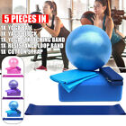 5PCS Exercise Yoga Ball Set Balance Stretch Band Resistance Fitness Workout Kit image