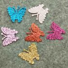 50PCS 22 26mm Sequin Butterfly Satin Ribbon Appliques/Craft/Clothes/Wedding