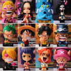 9-12cm One Piece Zoro Luffy Sanji Q Ver. Sitting Robin Nami Brook Figures Model