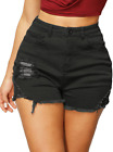 Haola Women's High Waist Shorts Juniors Summer Stretch Distressed Denim