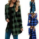 Women Coats Buffalo Plaid Long Sleeve Plus Size Open Front Elbow Patch Cardigans