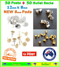 50 Earring Stud Posts Post Finding + 50 Bullets Backs 8mm Pad 1.2cm Length