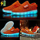 Kids Boys Girls Light Up Shoes LED Flashing Trainers Casual Sneakers Orange LOT
