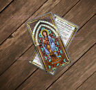 Saint Kateri Tekakwitha Stained Glass laminated Holy Prayer card. Stained Glass