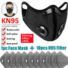 Face Mask With Activated Carbon Mouth Covers Sports Breathing Valve Filter Pad