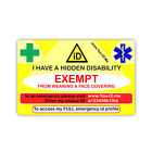 Face Mask Exempt Card Hidden Disability Awareness Covering Proof Prove Evidence