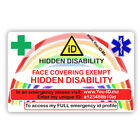 Face Mask Exemption Card Covering Exempt Hidden Medical Condition Adult Child ID